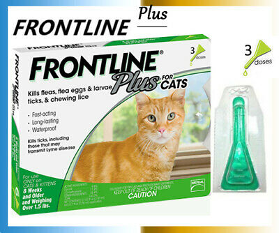 Genuine Frontline Plus For CATS 3 Month Supply Cat Flea & Tick Treatment,3 Doses