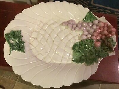 VTG Hand Painted Ceramic Platter Tray Italy Grapes Raised design footed 14x11 1/