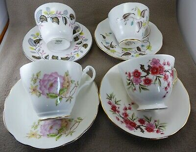 Mixed Set 4 Vintage China Cup/Saucer Duos Afternoon Tea Weddings Tearoom (A100)
