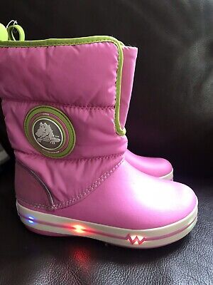 CROCS girls Pink GUST LIGHT BOOTS Lined Wellingtons Size J 1 WORN ONCE