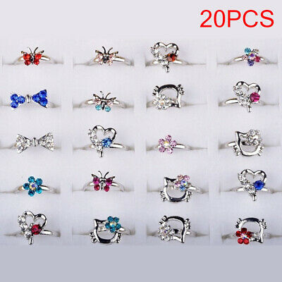 20pcs Silver Plated Assorted Design Cute Kid Small Size Adjustable Crystal Ring