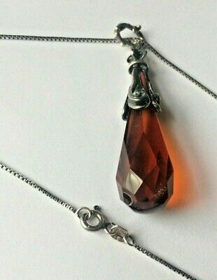 Signed, Vintage 925 Sterling Silver Red Stone Pendant Chain