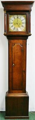 Antique English 8 Day Weight Driven Solid Oak Cottage Grandfather Longcase Clock
