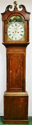 Antique 19thC English 8 Day Mahogany & Oak Cottage Grandfather Longcase Clock