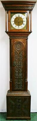 Beautiful Antique English C1740 8 Day Highly Carved Grandfather Longcase Clock