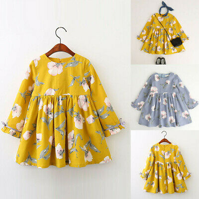 Children Kids Baby Girl Clothes Long Sleeve Floral Bowknot Party Princess Dress