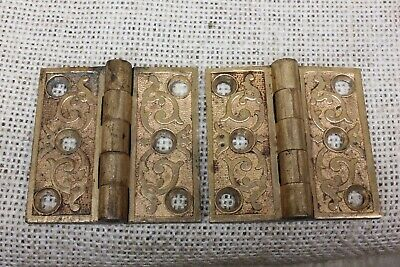 2 Old Hinges Cabinet interior shutter old bronze decorated 1880's vintage 2 x 2""