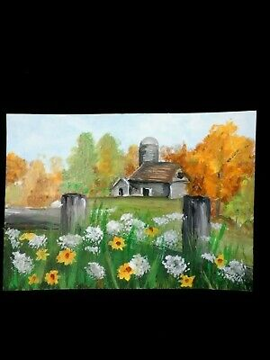 painting FALL FARM BARN FENCE WILD FLOWER original ART TRADING CARD signed ACEO
