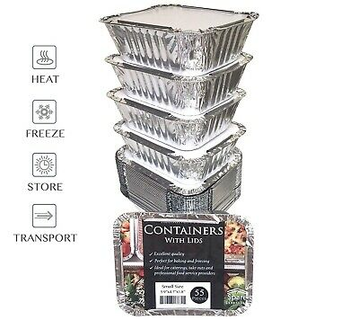 """(55 Pack) 5.5 x 4.5"""" SMALL Size Disposable Aluminum Pans with Lids"""