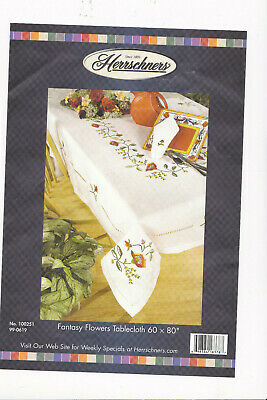 Herrschners Fantasy Flowers Tablecloth 60 X 80 Inch For Embroidery With Thread