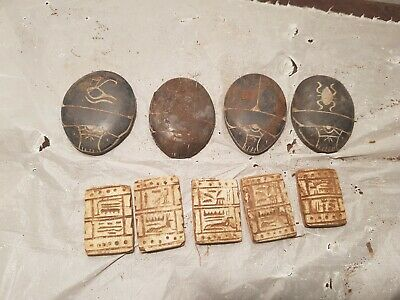 Rare Antique Ancient Egyptian 5 Magical Stones + 4 Scarabs Good Luck1730-1640BC