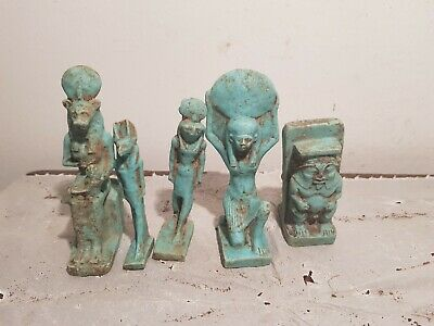 Rare Antique Ancient Egyptian 5 Gods Amulets Protection Sekhmet Horus1830-1740BC