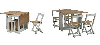 Grey Folding Dining Set - Table & 4 Chairs Wooden Space Saving Small Extending