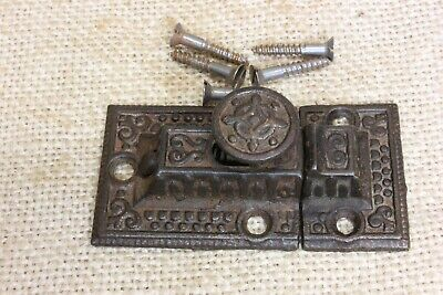 "OLD Cabinet catch Cupboard Latch rustic 2 5/8"" beaded edge vintage 1880's iron"