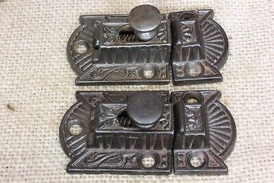 2 old Cabinet catches Cupboard Latches cast iron knob rustic vintage 2 3/4""