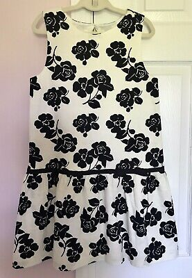 JANIE & JACK Girls Cream & Black Floral Dress w/ Cutout Back size 10 *BEAUTIFUL*