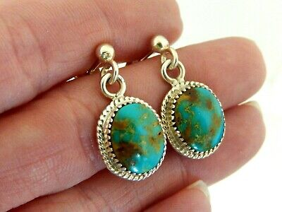 Vintage Signed Wr Sterling Silver & Royston Turquoise Dangle Earrings 4.5 Grams