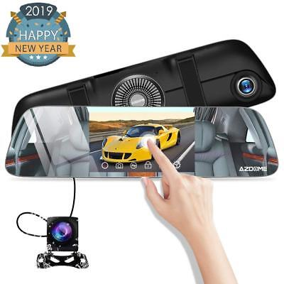 "Mirror Dash Cam - AZDOME Dual Lens 5.5"" IPS Touch Screen, FHD 1080P 170°View Ang"