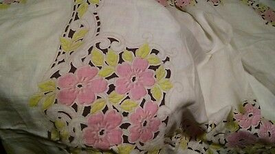 Vintage Tablecloth Pink Flowers Scallop design Shabby Chic Cottage pastels 50x66