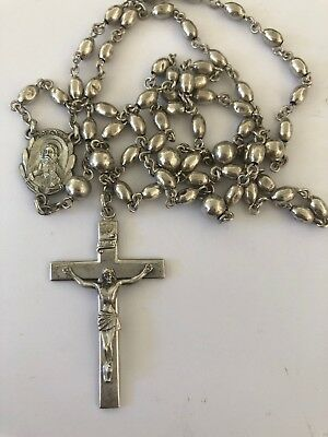 Vintage Creed Sterling Silver Sacred Heart of Jesus Rosary Antique 25 grams