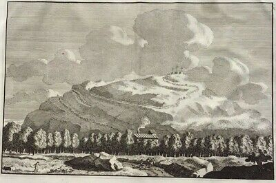 1708 Large Folio Engraving - ROME - Monte Testaccio - 3 Crucifixes - Overbeek