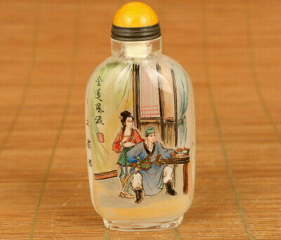 Big chinese old glass hand painting Pan Jinlian statue snuff bottle collectable