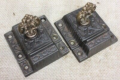 2 old Cabinet Latches catches jelly cupboard RARE brass knob vintage 2 1/2""