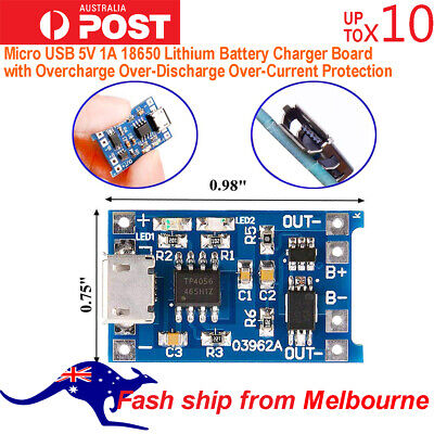 TP4056 Micro USB 5V 1A 18650 Lithium Battery Charger Board AU Stock