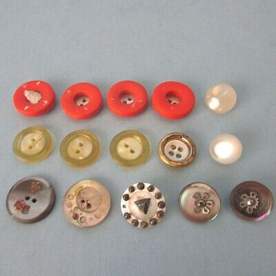 15 BUTTON Pearl Abalone Shell Celluloid Metal Steels Vintage Antique