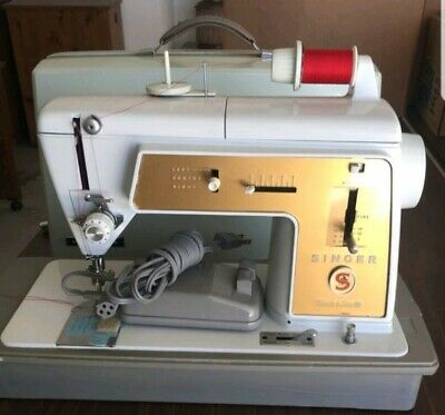 VTG Singer Model 603 Touch & Sew Sewing Machine + Foot Pedal + Case+ ATTACHMENTS