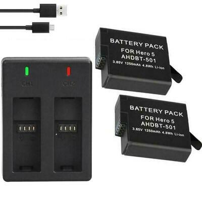 1 Dual Charger 2 pcs 1220 mAh Batteries With USB Cable Fit for Hero 5 6 7 C H1O6