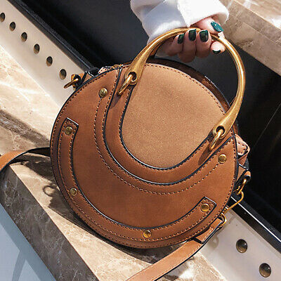 Women Lady Retro Round Leather Clutch Bag Lady Handbag Messenger Shoulder Purse