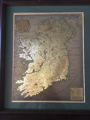Vintage Map Of The Kingdom Of Ireland Framed, Lateft And Beft