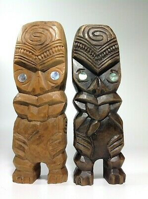 2 x VINTAGE HAND CARVED MAORI WOODEN NEW ZEALAND TIKIs