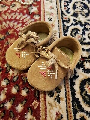 Purebaby Tan Moccasins Baby 6m  Shoes