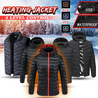 Rechargeable USB Electric Heated Hoodie Jacket Vest Winter Heating