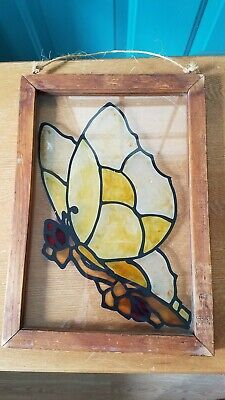 Retro Wooden Framed Butterfly Design Stained Glass Window Hanging