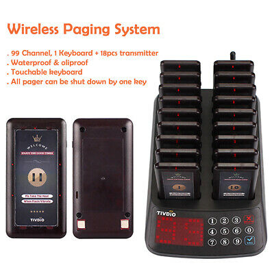 TIVDIO 99Channels Paging restaurant Waterproof Guest Call System W/ 18*Pagers UK