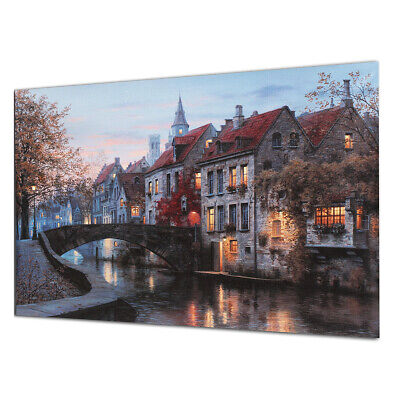 40x30cm Cityscape River Canvas Print Art Painting Picture Poster Home Wall  UK
