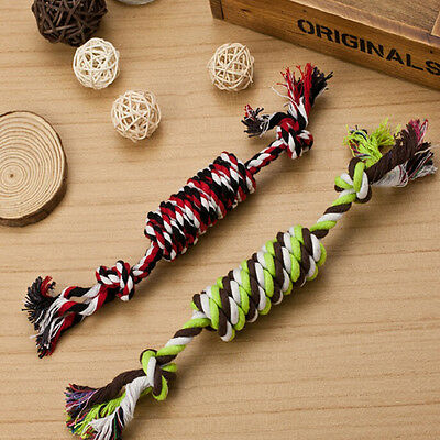 1PC Puppy Dog Pet Toy Cotton Braided Bone Rope Chew Knot New Random color JG