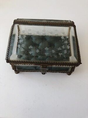 Antique French Ormolu Beveled Glass Jewelry Box Etched Ivy Leaves  #1