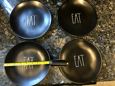 Rae Dunn By Magenta Rare HTF EAT Black Plates Set of 4 Appetizer Snack 8inch 8""