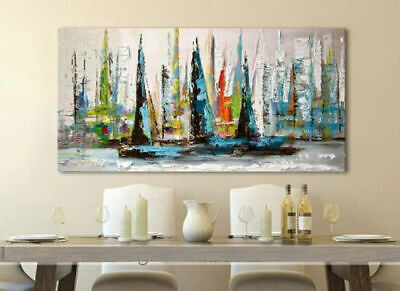 LMOP914 large modern abstract sail boats hand wall art oil painting on canvas