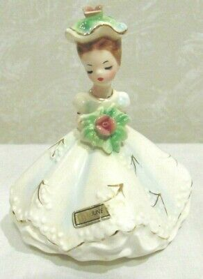Vintage Josef June Birthday Girl Porcelain Hand Painted Figurine With Stickers