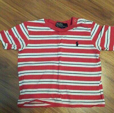 Ralph Lauren Polo 12 18 Infant Boys Shirt No Fade Rusty Red Striped Logo