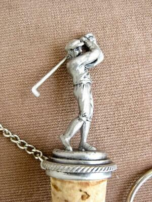 Decorative wine bottle cork  Golfer in Pewter  Stopper Saver with chain & ring