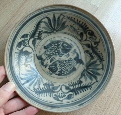Antique Thai Lanna Kingdom /  Sukhothai  Charger Plate Fish  Design  '