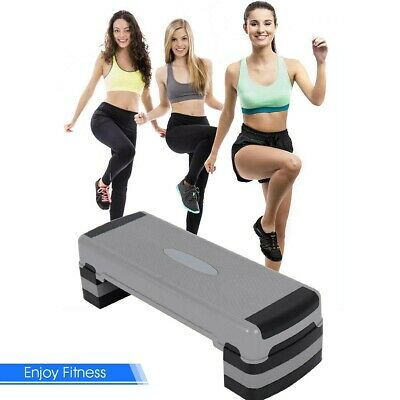 """New 35"""" Aerobic Cardio Adjustable Exercise Stepper With Risers Professional US"""