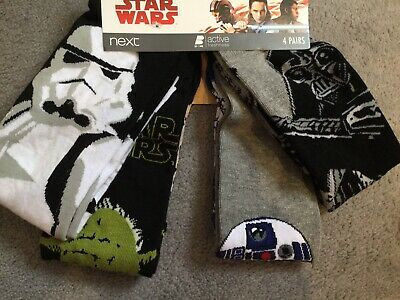 Star Wars -4 Pairs Of Socks From Next- Each A Diff Picture - Size 6-8.5 - Bnwt