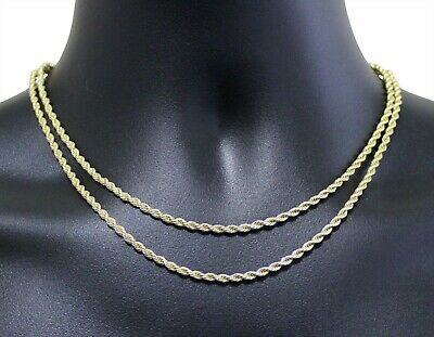 """2pc Choker Set 3mm Rope Chains 16"""" 18"""" 14k Gold Plated Hip Hop Mens Womens"""